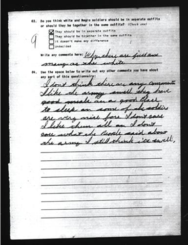 A soldier's written survey