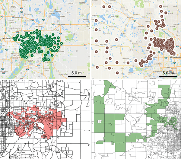 Four graphs of under-immunized cluster data in Minnesota and Washington State