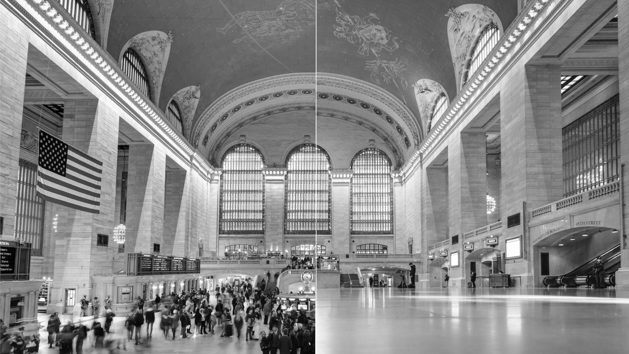 Grand Central Station before and during COVID-19